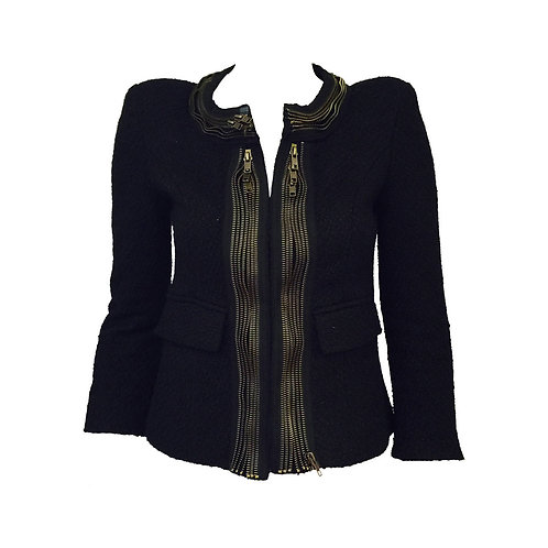 Alexander McQueen Cropped Textured Jacket With Multi Zipper Trim