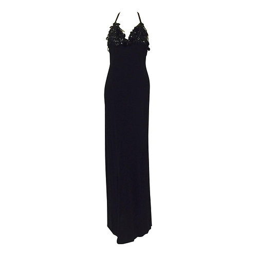 New Jenny Packham Embroidered Black Stretch Jersey Halter Evening Dress