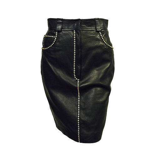1990s Versace Studded Lambskin Straight Skirt is quintessential Gianni! Features