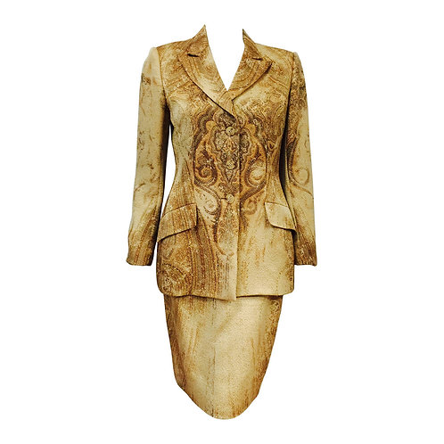Bill Blass Saks Fifth Avenue Earth Tone Paisley Print Skirt Suit