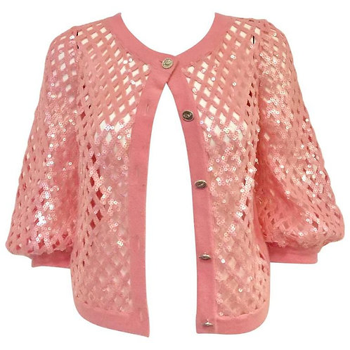 2008 Chanel Pink Lattice Woven Cashmere Cardigan With Sequins