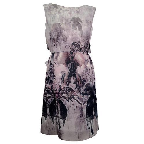 Valentino Abstract Screen Print Sleeveless Dress