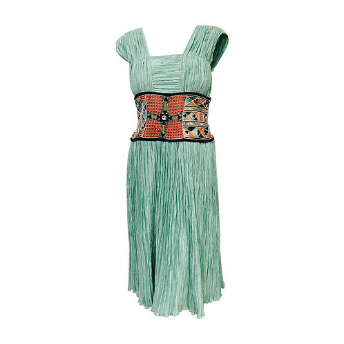Mary McFadden Couture Embroidered Mint Marii Pleated Dress