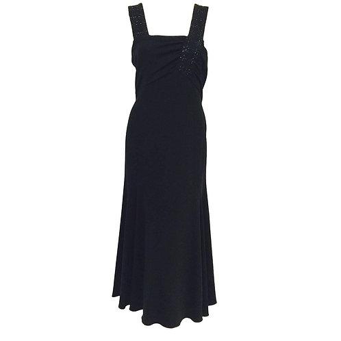 Armani Collezioni Black Bias Cut Cocktail Dress With Jet Beaded Straps