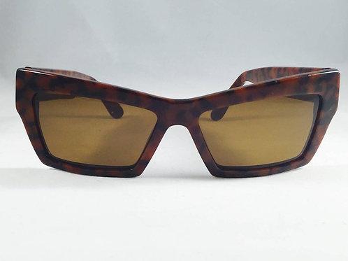 1990s Gianni Versace Tortoise Wayfarer Sunglasses With Mudusa Head Temples