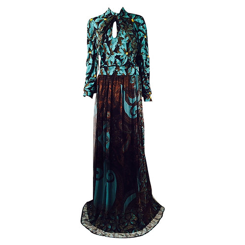 New CLASS Roberto Cavalli Long Sleeve Print Evening Gown