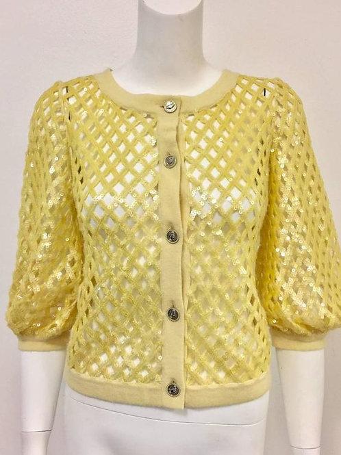 2008 Chanel Lemon Open Lattice Woven Cashmere Cardigan / Sequins Allover