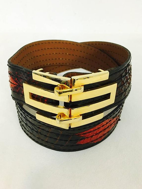 Vintage Gold Tone Christian Dior Leather Belt With Multi Color Python