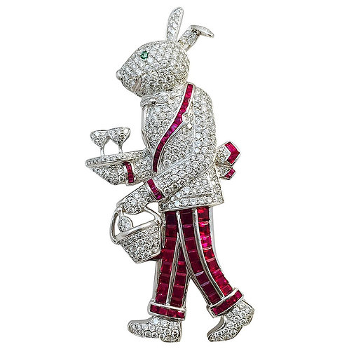 Ruby Emerald Diamond Gold Rabbit Waiter Brooch