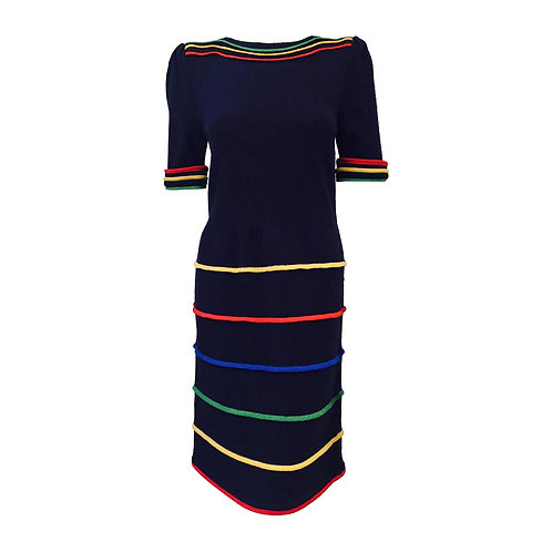 Vintage Adolfo Short Sleeve Navy Wool Blend Day Dress With Primary Color Bands
