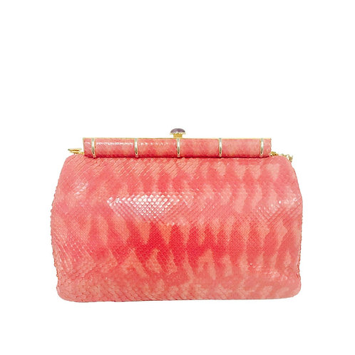 Judith Leiber Pink Python Shoulder Bag With Jeweled Clasp