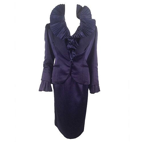 Vintage Christian Dior Boutique Navy Wool Blend Evening Suit