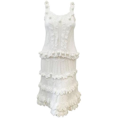 Oscar de la Renta White Cotton Crochet Camisole and Skirt Ensemble
