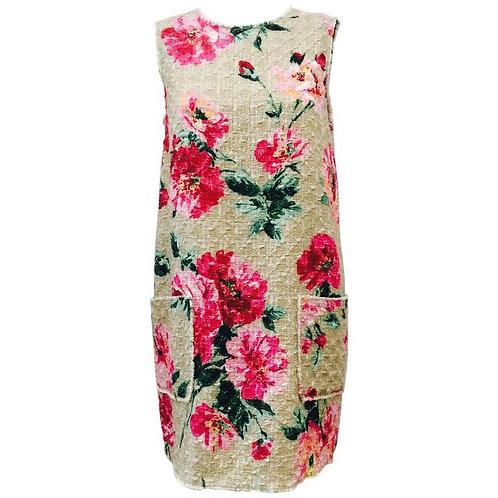 Dolce & Gabbana Sleeveless Linen and Cotton Blend Tweed Floral Shift Dress