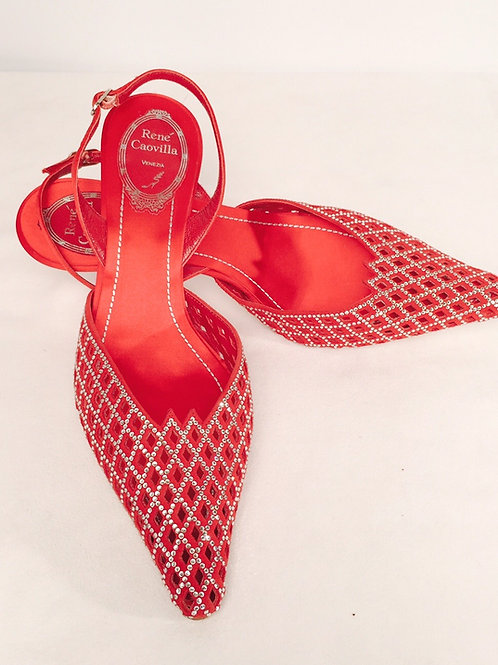 Rene Caovilla Red Satin and Suede Evening Shoes