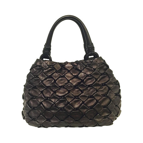 Prada Quilted Metallic Coffee Bean Leather Top Handle Bag