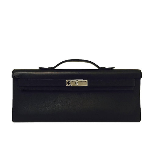 Hermes 2008 Black Swift Leather Kelly Cut Clutch PHW