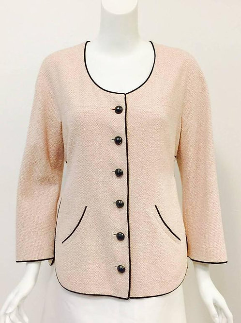 Chanel Cotton and Linen Blend Jacket With Adjustable Belt and Black Piping
