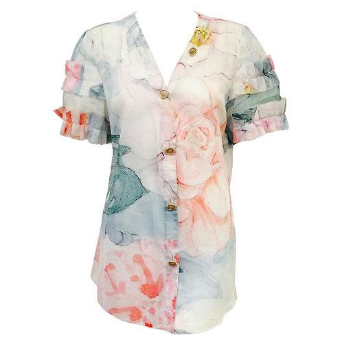 Chanel Spring 100% Cotton Impressionist Floral Print Short Sleeve Blouse