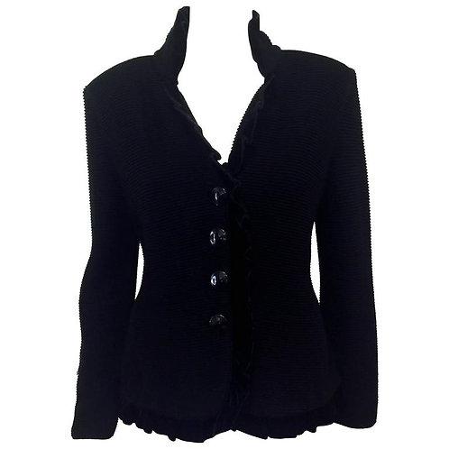 Giorgio Armani Collezioni Black Wool Evening Jacket With Black Velvet Trim