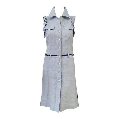 Valentino Jeans Sleeveless Powder Blue 100% Linen Day Dress