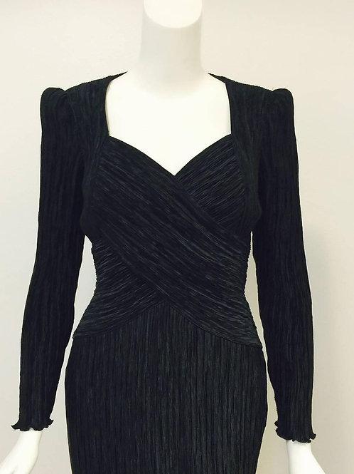 Vintage Mary McFadden Couture Black Marii Pleated Long Sleeve Cocktail Dress