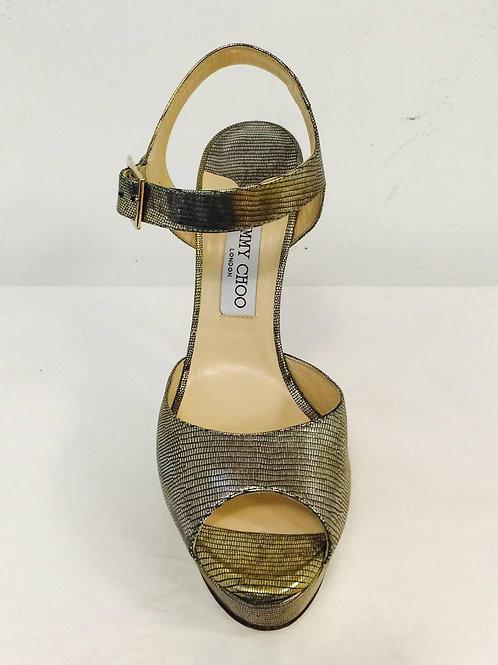 New Jimmy Choo Antique Metallic Gold Raven Lizard Print High Heels