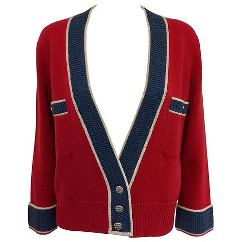 Chanel Red and Slate Blue Cashmere Cardigan With Wide Banded Cuffs