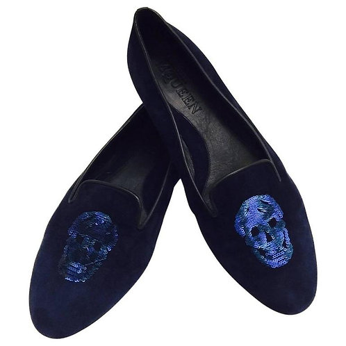 Alexander McQueen Midnight Blue Suede Slippers With Sequin Embroidered Skulls