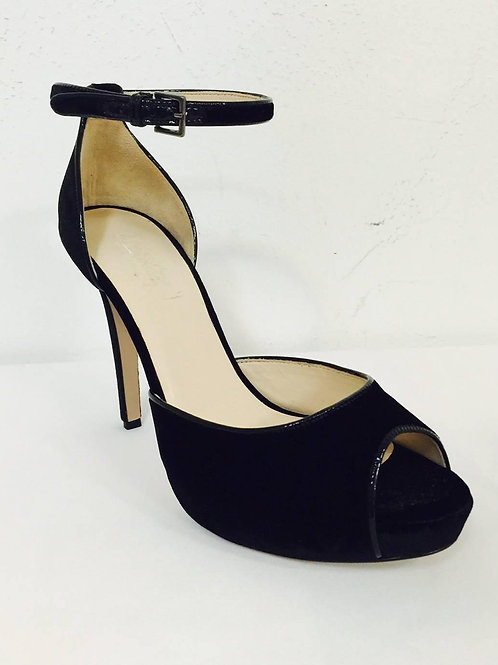 New MaxMara Black Velvet High Heel Peep Toe Shoes With Ankle Straps
