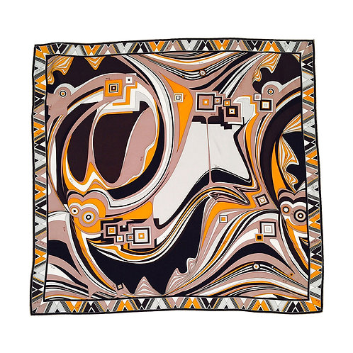 Emilio Pucci Abstract Print 100% Silk Twill Scarf