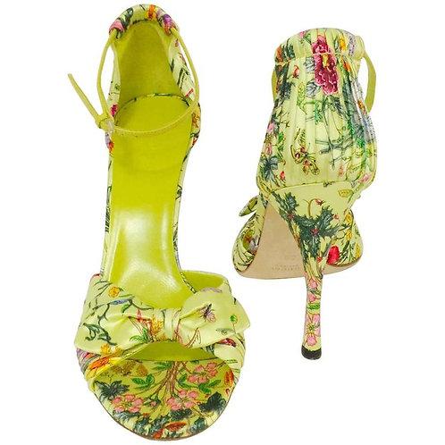 Gucci Green Satin Floral Print High Heel Sandals Above Excellent