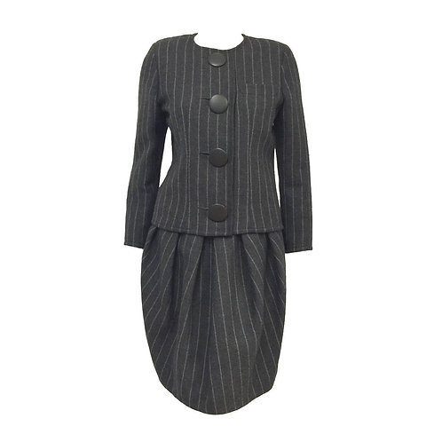 Vintage Lanvin Charcoal Wool Striped Skirt Suit With Black Velvet