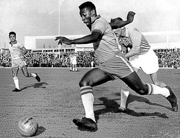 Pele 1960 Playing for Brazil