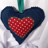 Denim Polka Dot Heart