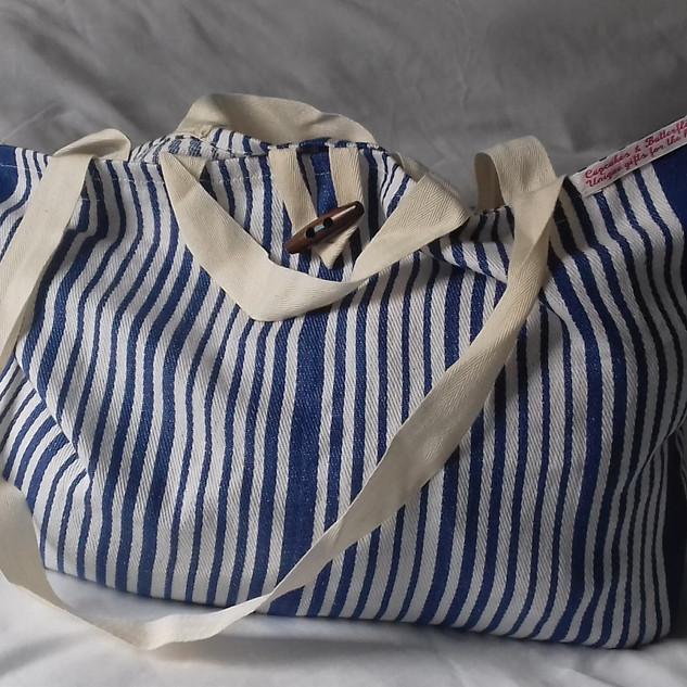 Upcycled blue stripe yoga bag