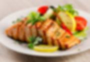 Mediterranean salmon salad meal