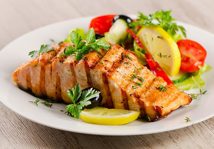 Grilled Salmon and vegetable meal