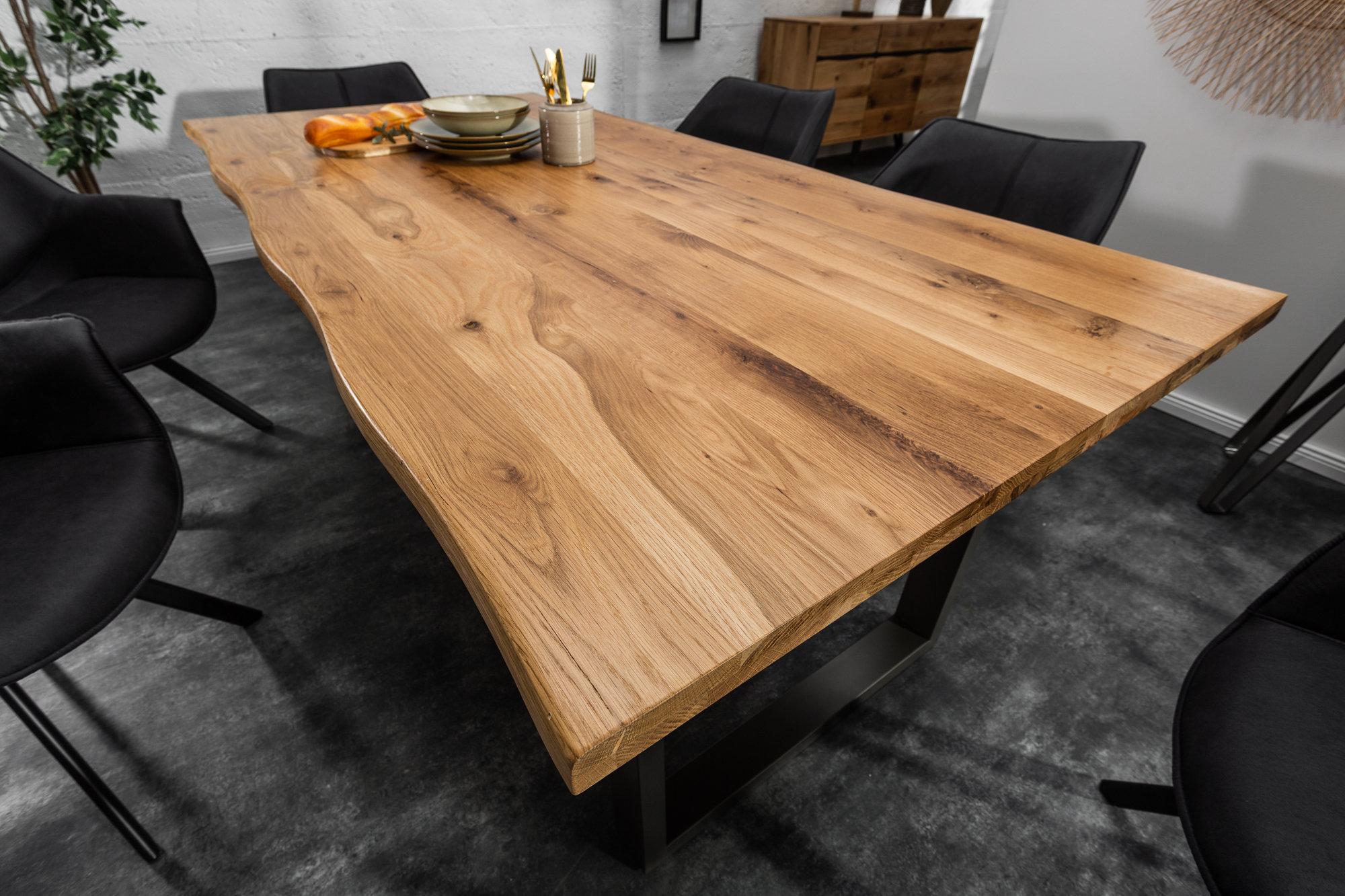 LIVING EDGE Solid Tree Edge Dining Table 9cm Wild Oak 9.9cm Top   SITHEIM  EuropeLIVING EDGE Solid Tree Edge Dining Table 9cm Wild Oak 9.9cm ...