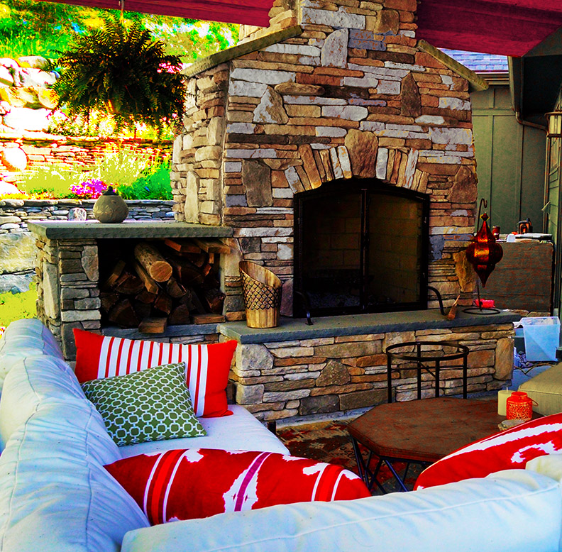 Stone Fireplace and Hearth