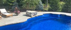 Stamped Concrete Pool Deck / Diving Rock