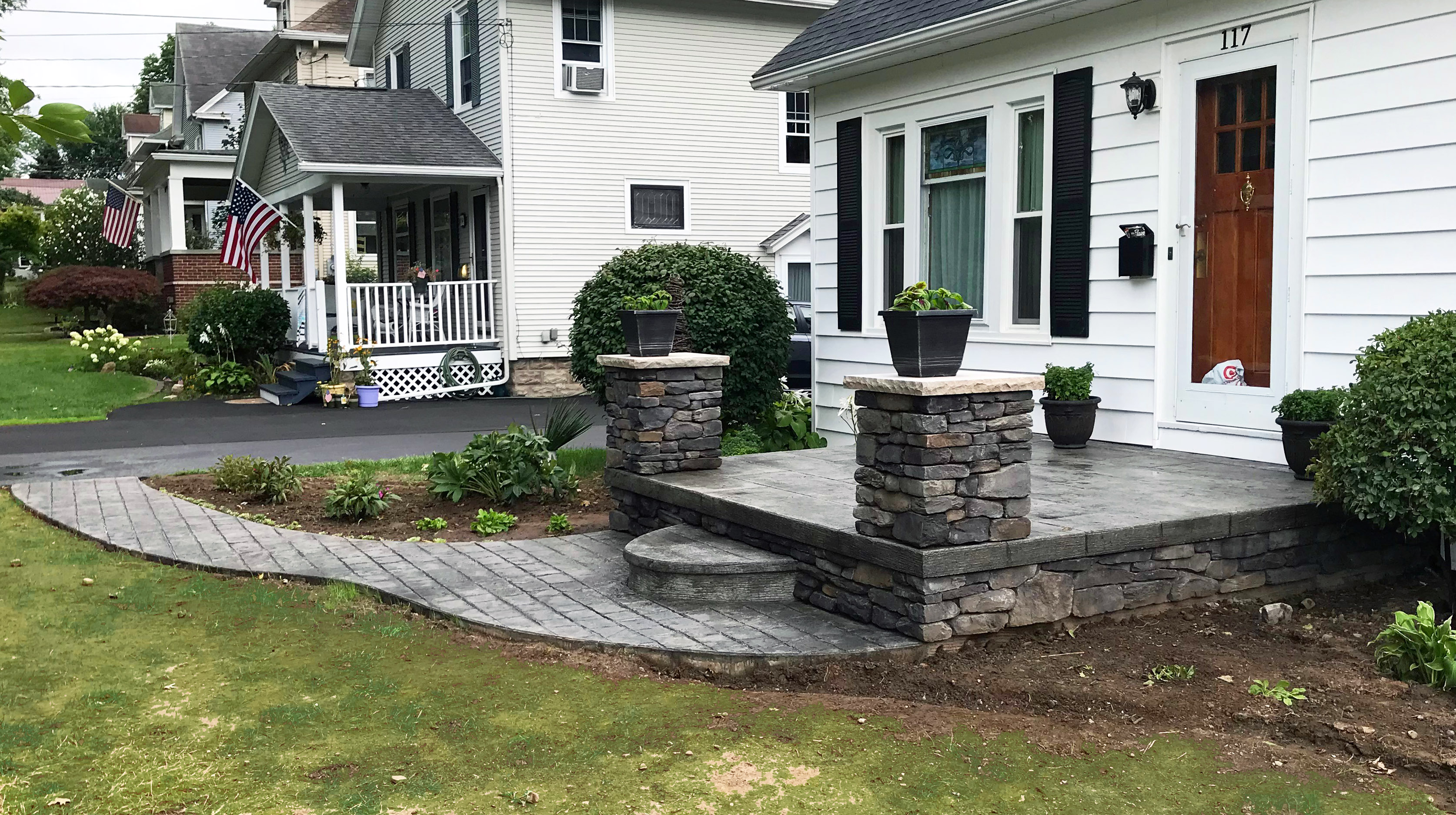 Stamped Concrete Walkway Porch