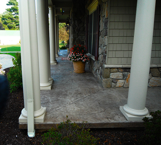 Stamped concrete floor on front porch