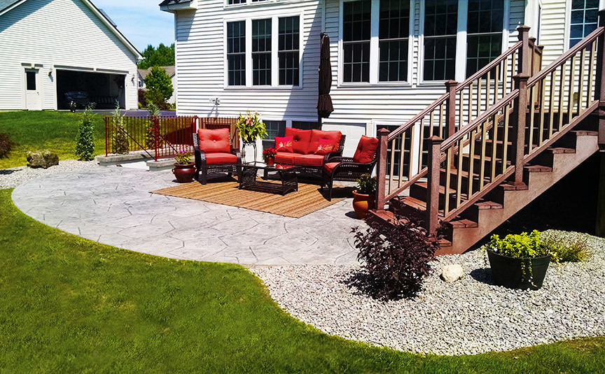 Stamped Concrete Patio with Outdoor Living Room