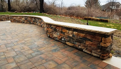 Stone Sitting Walls in Patio