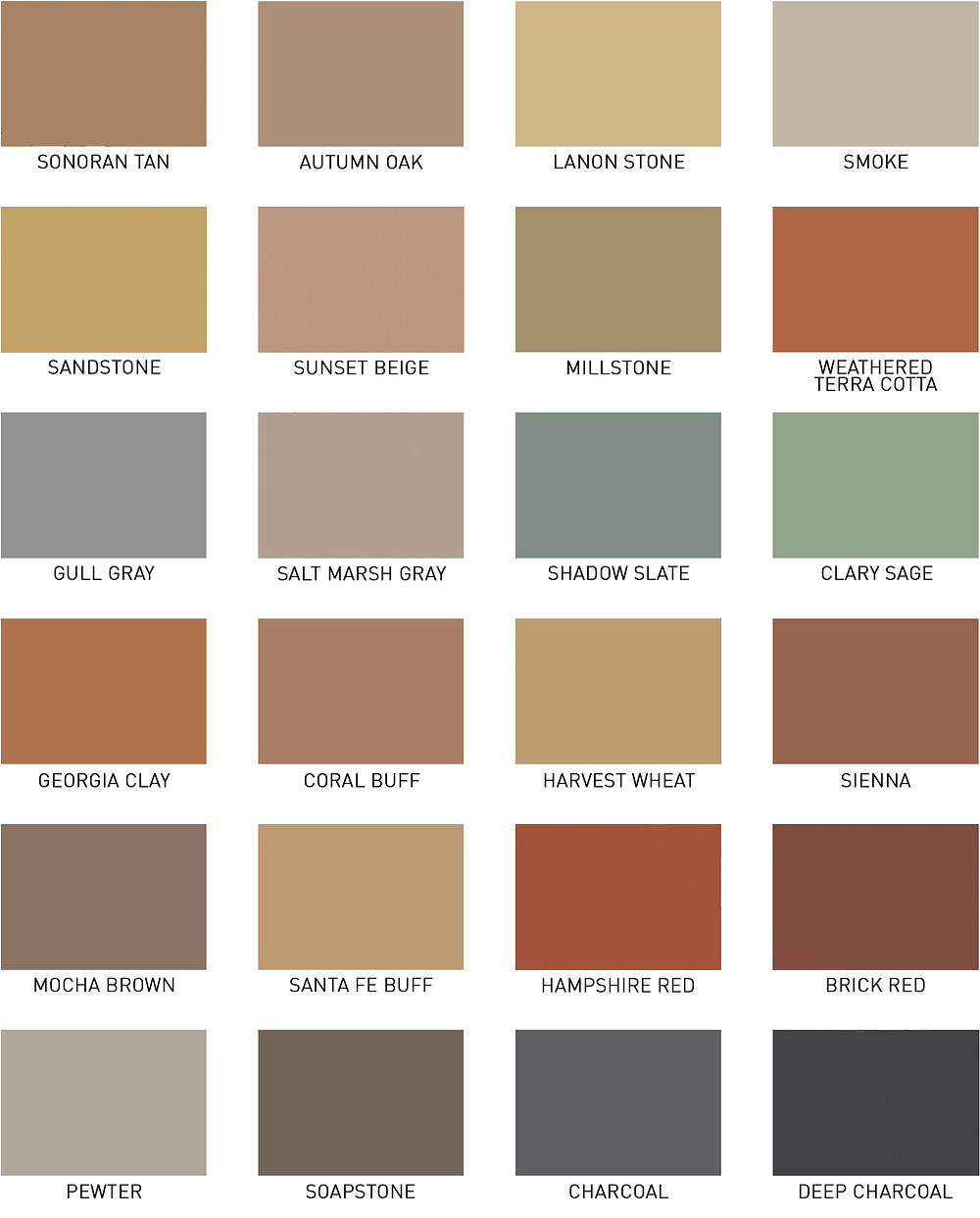Color chart for stamped concrete offered by Gruttadaurio Masonry serving the Rochester, NY, area