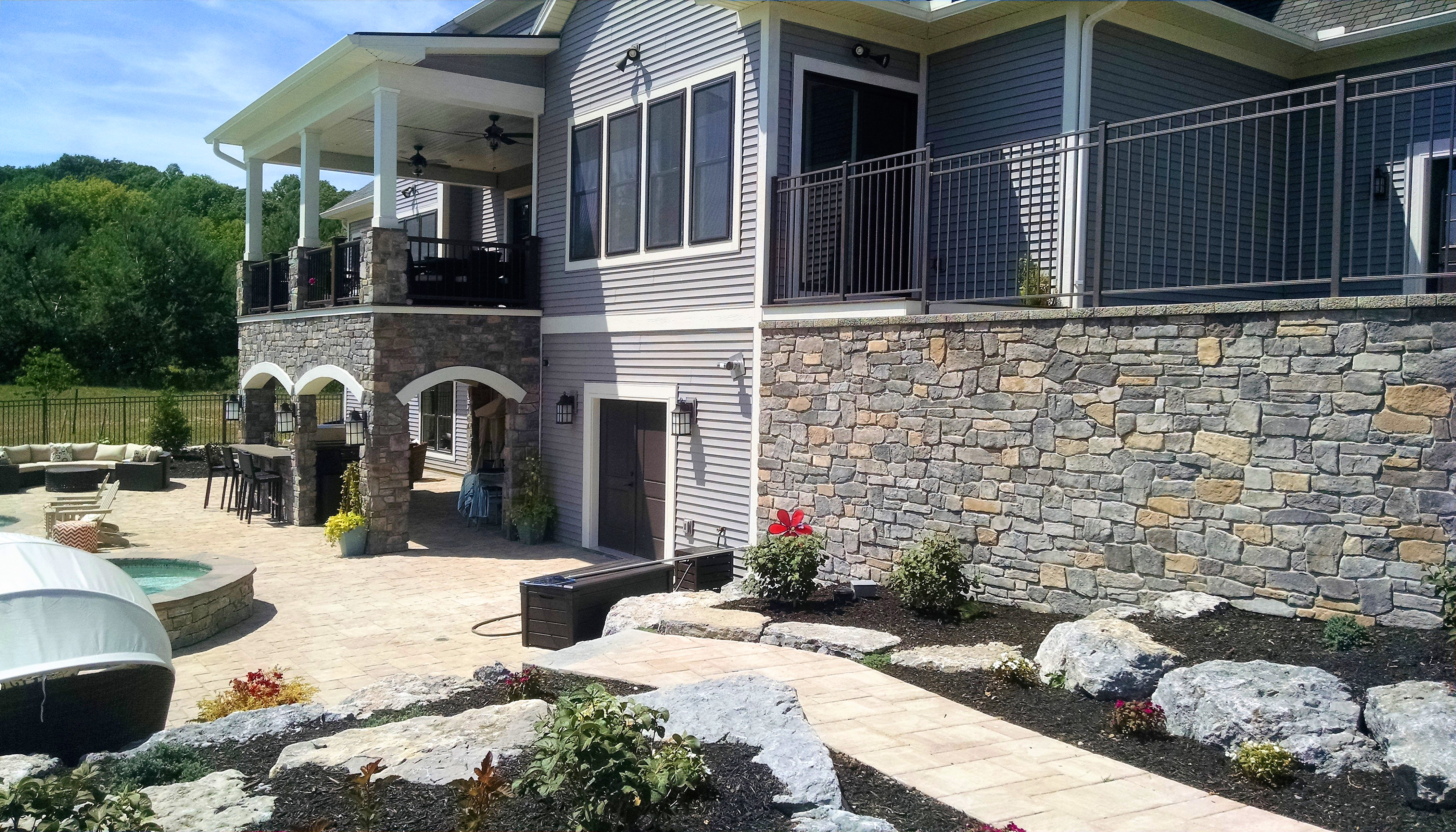 Stone Veneer & Concrete Patio