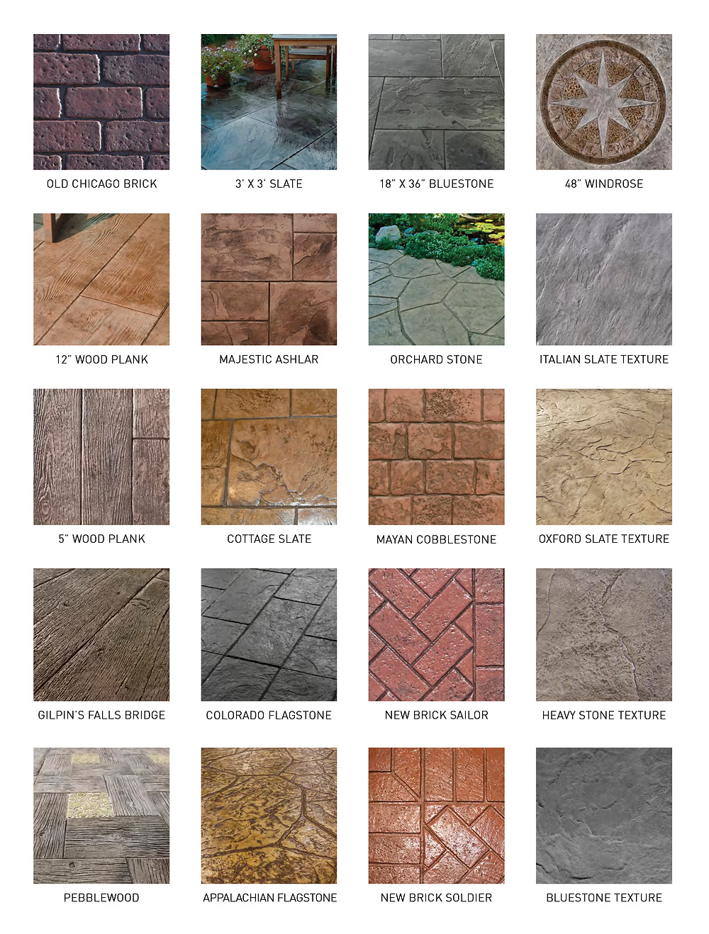 Chart showing stamped concrete patterns offered by Gruttadaurio Masonry serving the Rochester, NY, area.