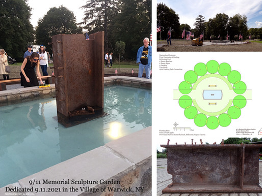9/11 MEMORIAL SCULPTURE GARDEN BY AGRISCULPTURE IN VILLAGE OF WARWICK, NY