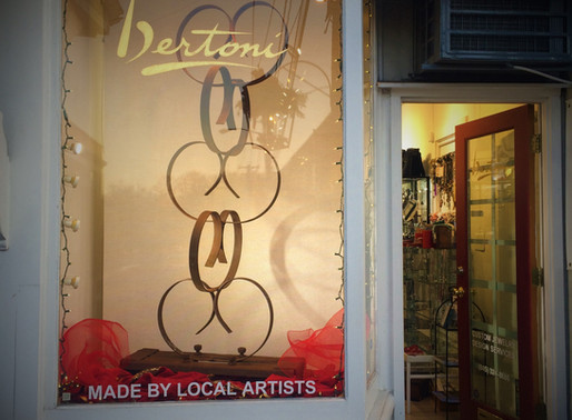 LOVE AGRISCULPTURE IN VALENTINES WINDOW OF BERTONI GALLERY